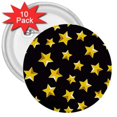 Yellow Stars Pattern 3  Buttons (10 Pack)  by Onesevenart