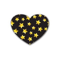 Yellow Stars Pattern Rubber Coaster (heart)  by Onesevenart
