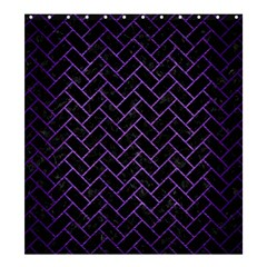 Brick2 Black Marble & Purple Brushed Metal (r) Shower Curtain 66  X 72  (large)  by trendistuff