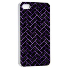 Brick2 Black Marble & Purple Brushed Metal (r) Apple Iphone 4/4s Seamless Case (white) by trendistuff