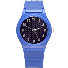 Brick2 Black Marble & Purple Brushed Metal (r) Round Plastic Sport Watch (s) by trendistuff