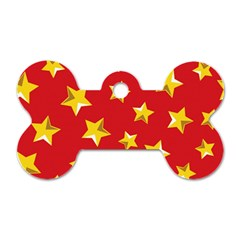 Yellow Stars Red Background Pattern Dog Tag Bone (two Sides) by Onesevenart