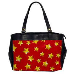 Yellow Stars Red Background Pattern Office Handbags by Onesevenart