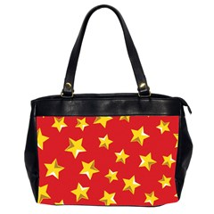 Yellow Stars Red Background Pattern Office Handbags (2 Sides)  by Onesevenart