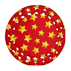 Yellow Stars Red Background Pattern Round Filigree Ornament (two Sides) by Onesevenart