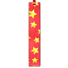 Yellow Stars Red Background Pattern Large Book Marks by Onesevenart