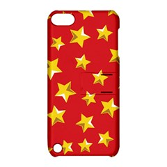 Yellow Stars Red Background Pattern Apple Ipod Touch 5 Hardshell Case With Stand by Onesevenart