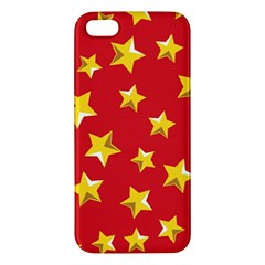 Yellow Stars Red Background Pattern Iphone 5s/ Se Premium Hardshell Case by Onesevenart