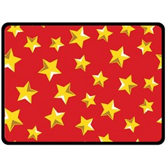 Yellow Stars Red Background Pattern Double Sided Fleece Blanket (large)  by Onesevenart