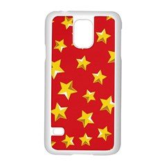 Yellow Stars Red Background Pattern Samsung Galaxy S5 Case (white) by Onesevenart