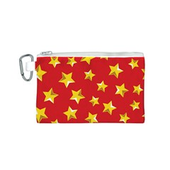 Yellow Stars Red Background Pattern Canvas Cosmetic Bag (s) by Onesevenart