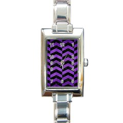 Chevron2 Black Marble & Purple Brushed Metal Rectangle Italian Charm Watch by trendistuff