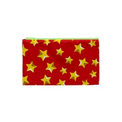 Yellow Stars Red Background Pattern Cosmetic Bag (xs) by Onesevenart