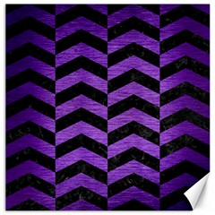 Chevron2 Black Marble & Purple Brushed Metal Canvas 12  X 12   by trendistuff