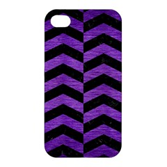 Chevron2 Black Marble & Purple Brushed Metal Apple Iphone 4/4s Premium Hardshell Case by trendistuff