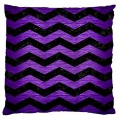 Chevron3 Black Marble & Purple Brushed Metal Large Cushion Case (one Side) by trendistuff
