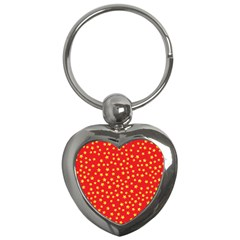 Yellow Stars Red Background Key Chains (heart)  by Onesevenart