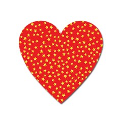Yellow Stars Red Background Heart Magnet by Onesevenart