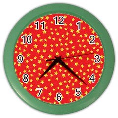 Yellow Stars Red Background Color Wall Clocks by Onesevenart