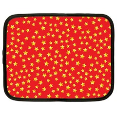 Yellow Stars Red Background Netbook Case (large) by Onesevenart