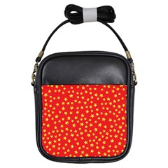 Yellow Stars Red Background Girls Sling Bags by Onesevenart