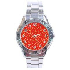 Yellow Stars Red Background Stainless Steel Analogue Watch by Onesevenart