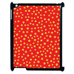 Yellow Stars Red Background Apple Ipad 2 Case (black) by Onesevenart