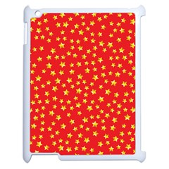 Yellow Stars Red Background Apple Ipad 2 Case (white) by Onesevenart