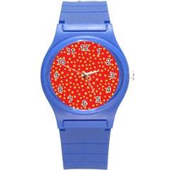 Yellow Stars Red Background Round Plastic Sport Watch (s) by Onesevenart
