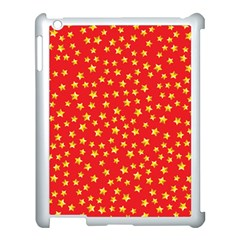 Yellow Stars Red Background Apple Ipad 3/4 Case (white) by Onesevenart