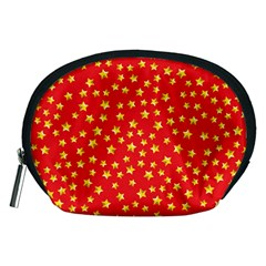 Yellow Stars Red Background Accessory Pouches (medium)  by Onesevenart