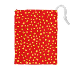 Yellow Stars Red Background Drawstring Pouches (extra Large) by Onesevenart