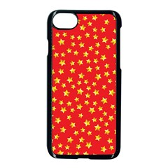 Yellow Stars Red Background Apple Iphone 7 Seamless Case (black) by Onesevenart