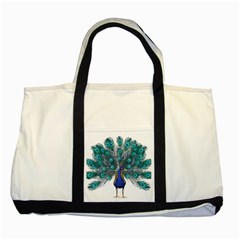 Peacock Bird Peacock Feathers Two Tone Tote Bag by Onesevenart