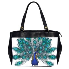 Peacock Bird Peacock Feathers Office Handbags (2 Sides)  by Onesevenart