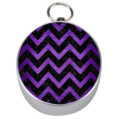 Chevron9 Black Marble & Purple Brushed Metal (r) Silver Compasses by trendistuff