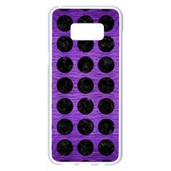 Circles1 Black Marble & Purple Brushed Metal Samsung Galaxy S8 Plus White Seamless Case by trendistuff