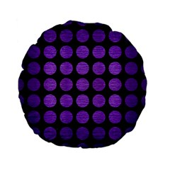 Circles1 Black Marble & Purple Brushed Metal (r) Standard 15  Premium Flano Round Cushions by trendistuff