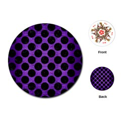 Circles2 Black Marble & Purple Brushed Metal Playing Cards (round)  by trendistuff