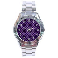 Circles3 Black Marble & Purple Brushed Metal Stainless Steel Analogue Watch by trendistuff