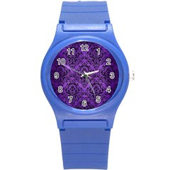 Damask1 Black Marble & Purple Brushed Metal Round Plastic Sport Watch (s) by trendistuff
