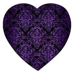 Damask1 Black Marble & Purple Brushed Metal (r) Jigsaw Puzzle (heart) by trendistuff