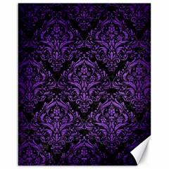 Damask1 Black Marble & Purple Brushed Metal (r) Canvas 16  X 20   by trendistuff