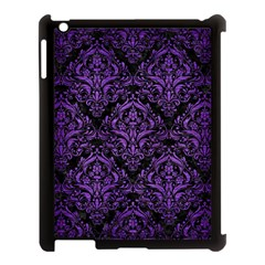 Damask1 Black Marble & Purple Brushed Metal (r) Apple Ipad 3/4 Case (black) by trendistuff