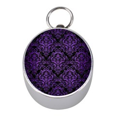 Damask1 Black Marble & Purple Brushed Metal (r) Mini Silver Compasses by trendistuff