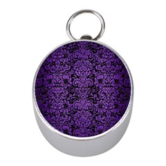 Damask2 Black Marble & Purple Brushed Metal (r) Mini Silver Compasses by trendistuff