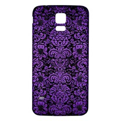 Damask2 Black Marble & Purple Brushed Metal (r) Samsung Galaxy S5 Back Case (white) by trendistuff