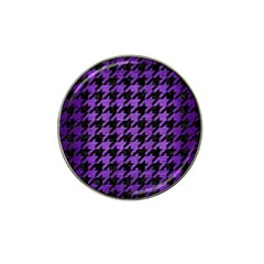 Houndstooth1 Black Marble & Purple Brushed Metal Hat Clip Ball Marker (10 Pack) by trendistuff