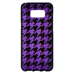 Houndstooth1 Black Marble & Purple Brushed Metal Samsung Galaxy S8 Plus Black Seamless Case by trendistuff
