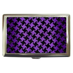 Houndstooth2 Black Marble & Purple Brushed Metal Cigarette Money Cases by trendistuff